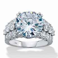 Round Cubic Zirconia Triple-Row Engagement Ring 7.73 TCW in Platinum over Sterling Silver