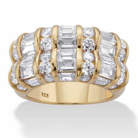 Round and Baguette-Cut Cubic Zirconia Channel-Set Ring 3.09 TCW in 14k Gold over Sterling Silver at PalmBeach Jewelry