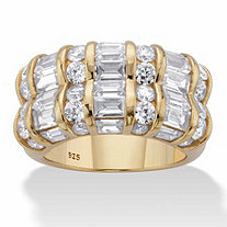 SETA JEWELRY Round and Baguette-Cut Cubic Zirconia Channel-Set Ring 3.09 TCW in 14k Gold over Sterling Silver