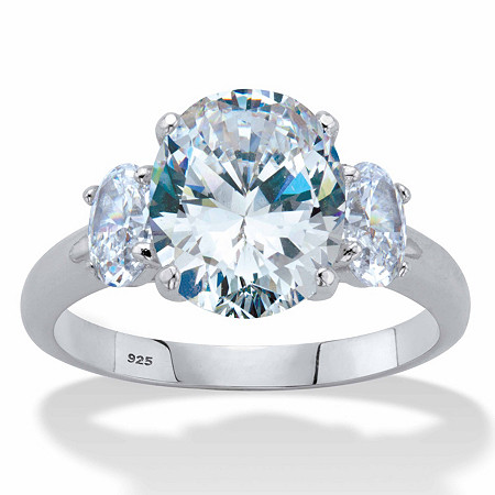 Oval-Cut Cubic Zirconia 3-Stone Engagement Ring 4.85 TCW in Platinum over Sterling Silver at PalmBeach Jewelry