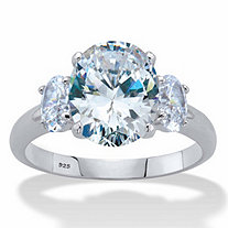 Oval-Cut Cubic Zirconia 3-Stone Engagement Ring 4.85 TCW in Platinum over Sterling Silver