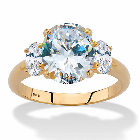 Oval-Cut Cubic Zirconia 3-Stone Engagement Ring 4.85 TCW in 14k Gold over Sterling Silver at PalmBeach Jewelry
