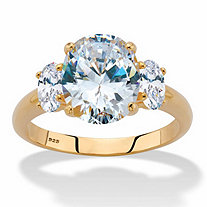 Oval-Cut Cubic Zirconia 3-Stone Engagement Ring 4.85 TCW in 14k Gold over Sterling Silver