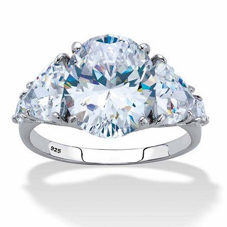 Oval and Trilliant-Cut Cubic Zirconia Engagement Ring 8.62 TCW in Platinum over Sterling Silver at PalmBeach Jewelry