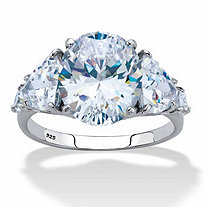 Oval and Trilliant-Cut Cubic Zirconia Engagement Ring 8.62 TCW in Platinum over Sterling Silver