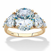 Oval and Trilliant-Cut Cubic Zirconia Engagement Ring 8.62 TCW in 14k Gold over Sterling Silver