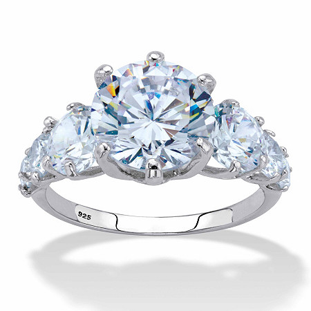 Round Cubic Zirconia Engagement Ring 7.20 TCW in Platinum over Sterling Silver at PalmBeach Jewelry