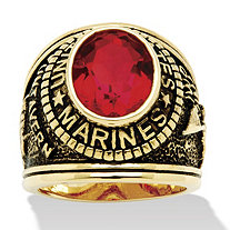 Men's Oval-Cut Simulated Red Ruby Antiqued 14k Yellow Gold-Plated Marines Ring (6 cttw)