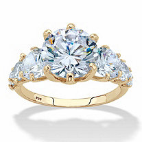 Round Cubic Zirconia Engagement Ring 7.20 TCW in 14k Gold over Sterling Silver