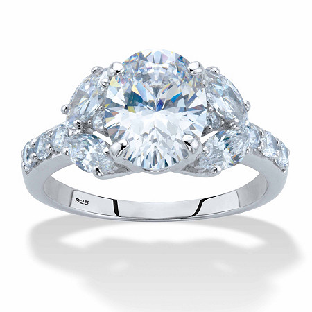 Oval-Cut Cubic Zirconia Engagement Ring 2.85 TCW in Platinum over Sterling Silver at PalmBeach Jewelry