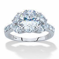 Oval-Cut Cubic Zirconia Engagement Ring 3.33 TCW in Platinum over Sterling Silver