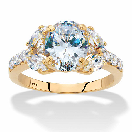 Oval-Cut Cubic Zirconia Engagement Ring 2.85 TCW in 18k Gold over Sterling Silver at PalmBeach Jewelry