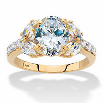 Oval-Cut Cubic Zirconia Engagement Ring 3.33 TCW in 14k Gold over Sterling Silver