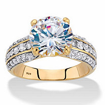 Round Cubic Zirconia Triple-Row Engagement Ring 5.01 TCW in 14k Gold over Sterling Silver