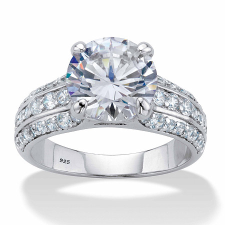 Round Cubic Zirconia Triple-Row Engagement Ring 5.01 TCW in Platinum over Sterling Silver at PalmBeach Jewelry