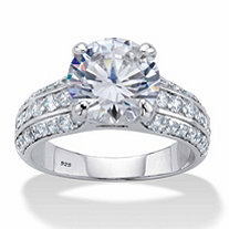 Round Cubic Zirconia Triple-Row Engagement Ring 5.01 TCW in Platinum over Sterling Silver