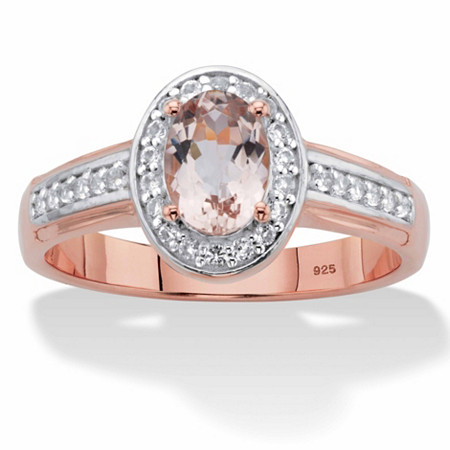 Oval-Cut Genuine Pink Morganite and White Topaz Halo Ring 1.45 TCW in Rose Gold over Sterling Silver at PalmBeach Jewelry