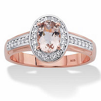 SETA JEWELRY Oval-Cut Genuine Pink Morganite and White Topaz Halo Ring .70 TCW in Rose Gold over Sterling Silver