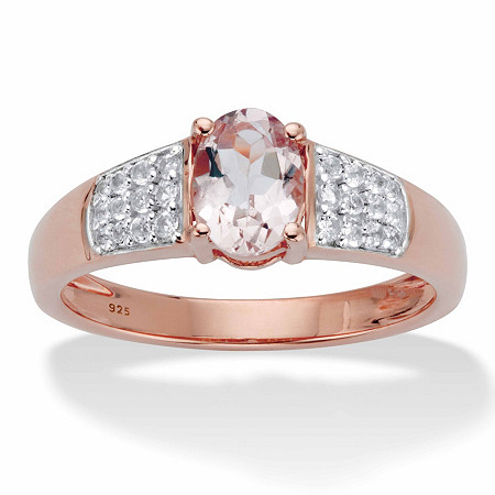 Genuine Oval-Cut Pink Morganite and White Topaz Ring 1.34 TCW in Rose Gold over Sterling Silver at PalmBeach Jewelry