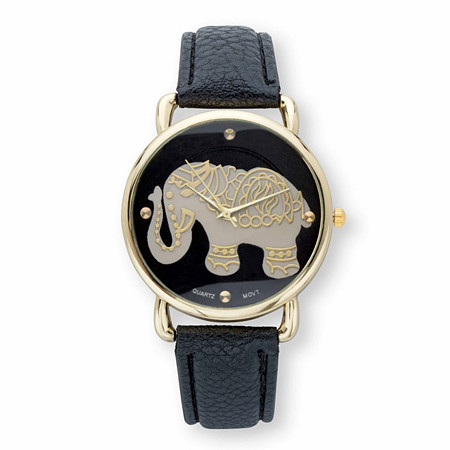 "Grey and Black Elephant Watch With Black Dial and Black Faux Leather Strap in Gold Tone 8"" at PalmBeach Jewelry"