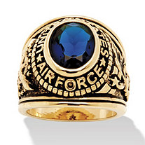 SETA JEWELRY Men's Oval-Cut Simulated Sapphire Air Force Ring 6 TCW in Antiqued 14k Gold-Plated