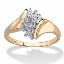 Pave Diamond Accent Cluster Ring in 18k Gold over Sterling Silver