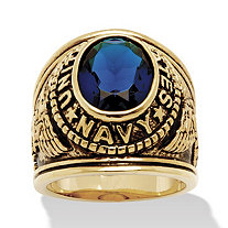 Men's Oval-Cut Simulated Sapphire Navy Ring in Antiqued 14k Gold-Plated
