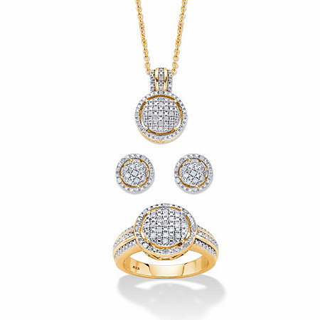 "Round Pave Diamond 3-Piece Cluster Floating Halo Set 1/3 TCW in 18k Gold over Sterling Silver 18""-20"" at PalmBeach Jewelry"