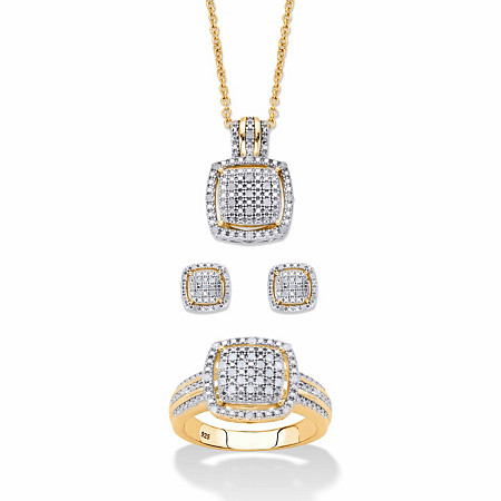 """Round Diamond 3-Piece Squared Cluster Halo Set 3/8 TCW in 18k Gold over Sterling Silver 18""""-20"""" at PalmBeach Jewelry"""