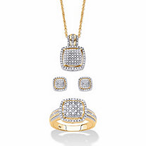 "Round Diamond 3-Piece Squared Cluster Halo Set 3/8 TCW in 18k Gold over Sterling Silver 18""-20"""