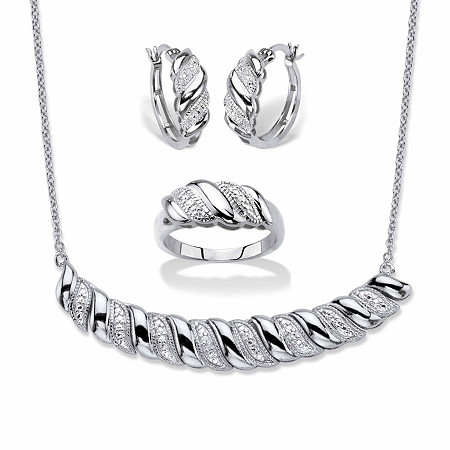 """Diamond Accent Diagonal Banded S-Link Necklace, Hoop Earrings and Ring 3-Piece Set in Silvertone 18"""" at PalmBeach Jewelry"""