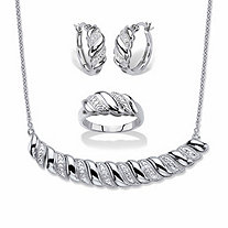 Diamond Accent Diagonal Banded S-Link Necklace, Hoop Earrings and Ring 3-Piece Set in Silvertone 18""