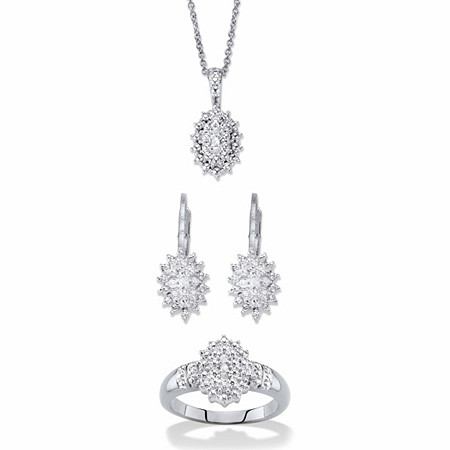 "Round Diamond Cluster Earring and Necklace Set With FREE Bonus Ring! 1/6 TCW Platinum-Plated 18""-20"" at PalmBeach Jewelry"