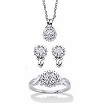 "Diamond Accent Cluster 3-Piece Earring, Ring and Necklace Set 1/10 TCW Platinum-Plated 18""-20"""