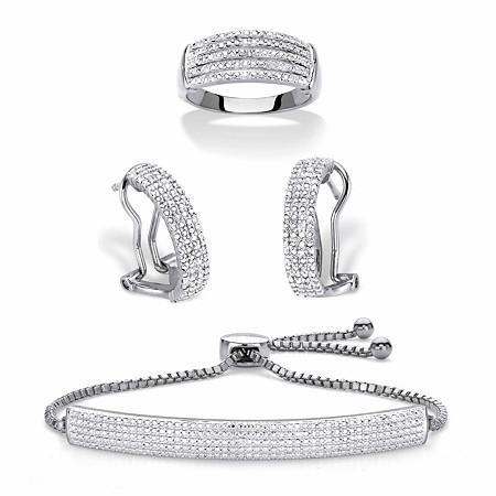 "Diamond Accent Platinum-Plated 3-Piece Pave-Style Ring, Demi-Hoop Earring and Adjustable Bolo Bracelet Set 9"" at PalmBeach Jewelry"