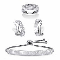 Diamond Accent Platinum-Plated 3-Piece Pave-Style Ring, Demi-Hoop Earring and Adjustable Bolo Bracelet Set 9""