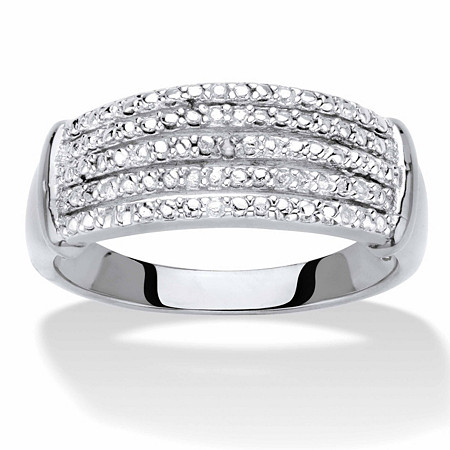 Diamond Accent Multi-Row Anniversary Ring Band in Silvertone at PalmBeach Jewelry