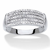 Diamond Accent Multi-Row Anniversary Ring Band in Silvertone