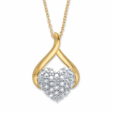 """Diamond Accent Heart-Shaped Drop Pendant Necklace 14k Gold-Plated 18"""" at PalmBeach Jewelry"""