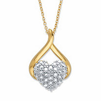 Diamond Accent Heart-Shaped Drop Pendant Necklace 14k Gold-Plated 18