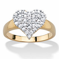 Diamond Accent Stippled Cluster Heart-Shaped Ring 14k Gold-Plated