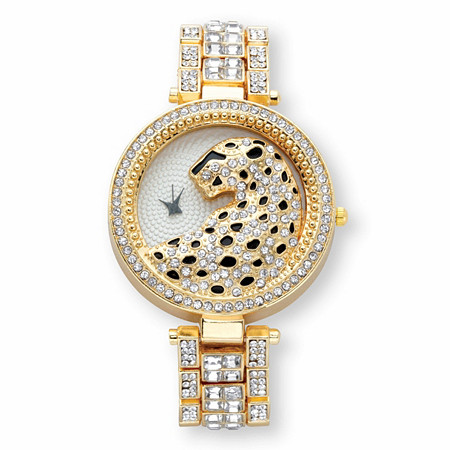 "Princess-Cut and Round Crystal Leopard Fashion Watch in Gold Tone 7.5"" at PalmBeach Jewelry"