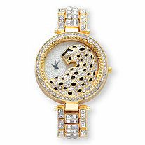Princess-Cut and Round Crystal Leopard Fashion Watch in Gold Tone 7.5""