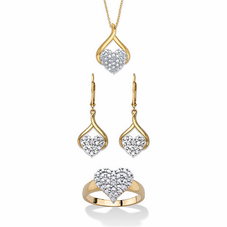 "Diamond Accent Two-Tone 3-Piece Cluster Heart Necklace, Earring and Ring Set 14k Gold-Plated 18"" at PalmBeach Jewelry"