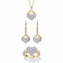 Diamond Accent Two-Tone 3-Piece Cluster Heart Necklace, Earring and Ring Set 14k Gold-Plated 18""