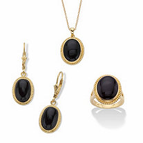 Genuine Black Onyx Oval Cabochon Banded Pendant Necklace, Earring and Ring Set in 14k Gold over Sterling Silver 18""