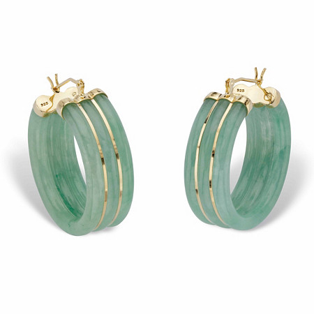 "Genuine Green Jade Hoop Earrings in 14k Gold over Sterling Silver1.33"" at PalmBeach Jewelry"