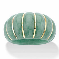 Genuine Green Jade Solid 10k Yellow Gold Shrimp-Style Dome Ring