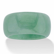 Genuine Green Jade Polished Eternity Ring