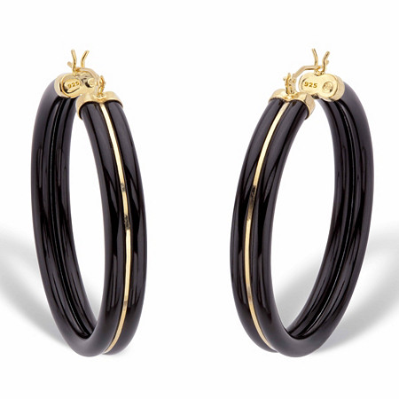 "Genuine Black Jade Polished Hoop Earrings in 14k Gold over Sterling Silver 1.75"" at PalmBeach Jewelry"